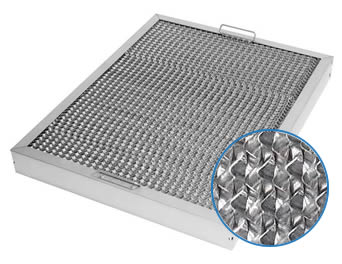 An aluminum honeycomb range hood filter with honeycomb-shaped channels and two handles