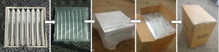 Baffle grease filters are wrapped in polybag, then they are put into the carton and closed by fixed belt
