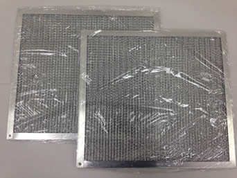 Double aluminum honeycomb grease filters are respectively packed in plastic films