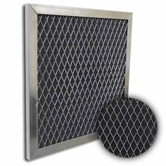 Expanded aluminum mesh grease filter is enclosed by sturdy frames