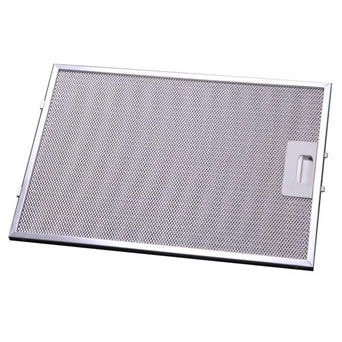 Mesh grease filter has expanded wire mesh and pull-handle on the right