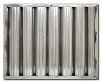 Galvanized steel grease baffle filter with two layers of baffles resists corrosion, rust. And it eliminates oil and flame as well.