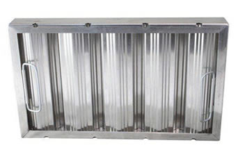 An aluminum baffle grease filter has handles on both vertical sides of the frame for easy assembly and removal