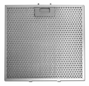 A stainless steel perforated grease filter has a single handle and perforated holes on the panel