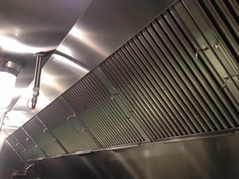 Several handled grease baffle filters come in line to work in restaurant kitchen