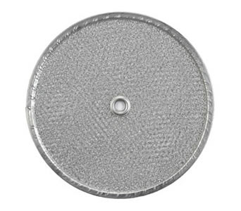 Round range hood filter has aluminum frame and a center hole