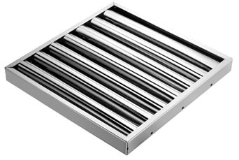 A stainless steel baffle grease filter fixed by sturdy frames with rivets