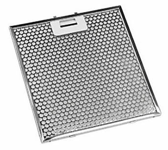 A stainless steel perforated grease filter with hexagonal holes and one handle