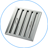 A stainless steel baffle range filter with handles