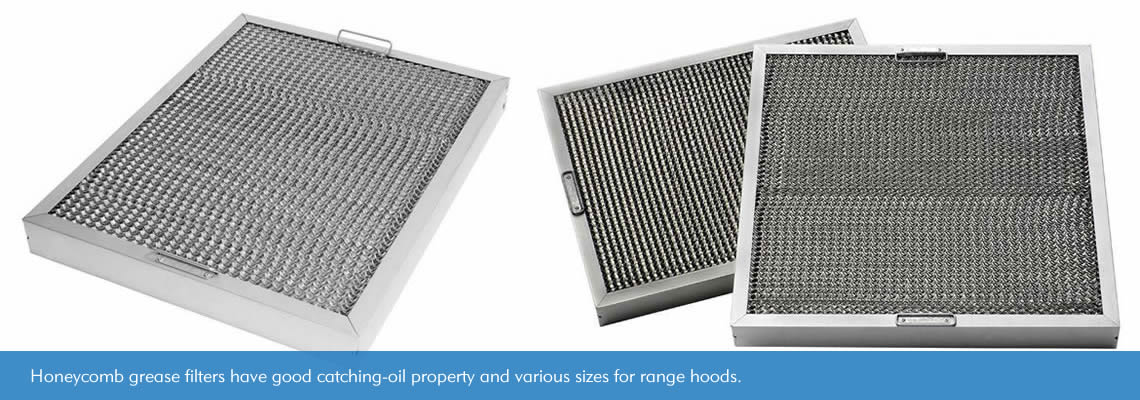 Honeycomb grease filters have tense-curved channels surface and sturdy frames surrounded as well as handles on vertical frames