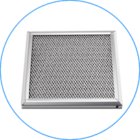 An expanded mesh grease filter surrounded by firm frames