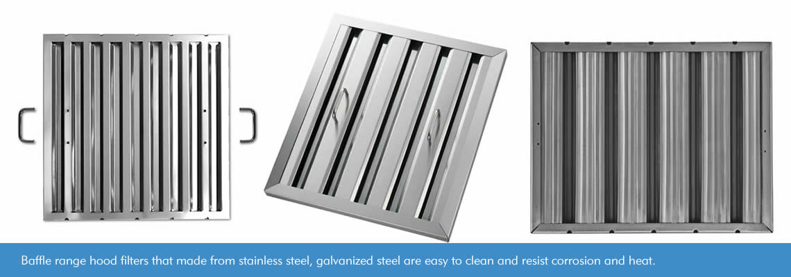 Three baffle range hood filters made from stainless steel and galvanized steel. And two of them are handled, one without handles.