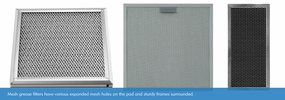 Three kinds of expanded mesh grease filters. They have different expanded mesh holes and shapes that suit different range hoods